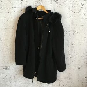 FS LIMITED BLACK WOOL COAT WITH HOOD M
